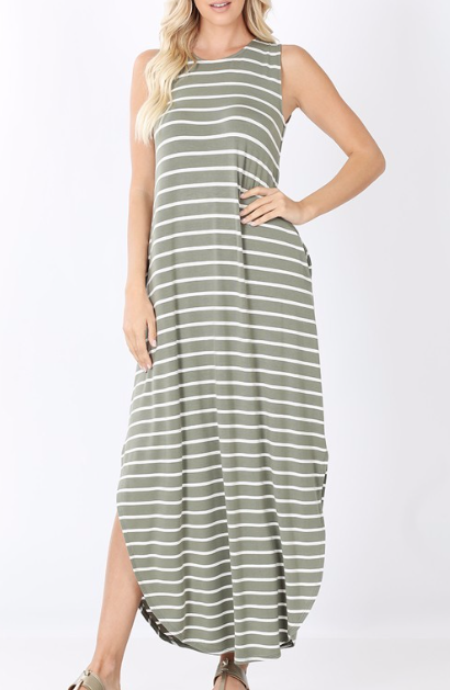 Casual Stripes Maxi ~ light olive