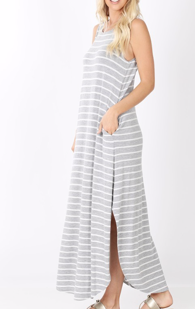 Casual Stripes Maxi ~ heather grey
