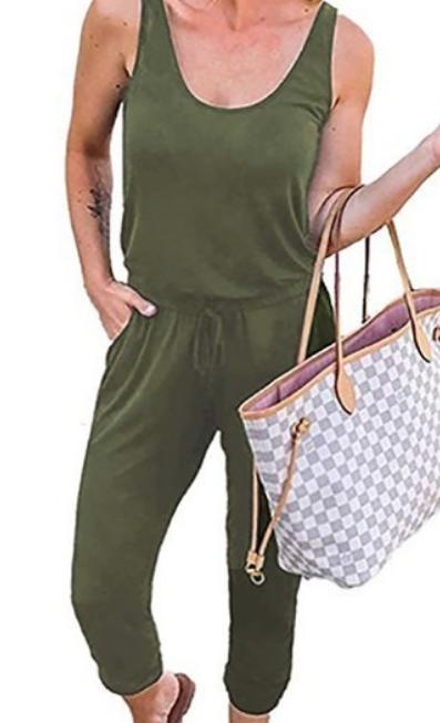 Sassy Tank Jumpsuit - Olive
