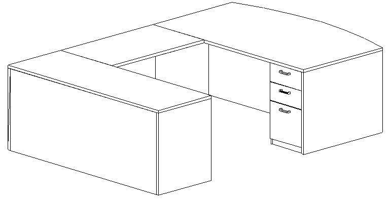 U-Desk, Bowfront, Left Bridge 24x42, Double Ped