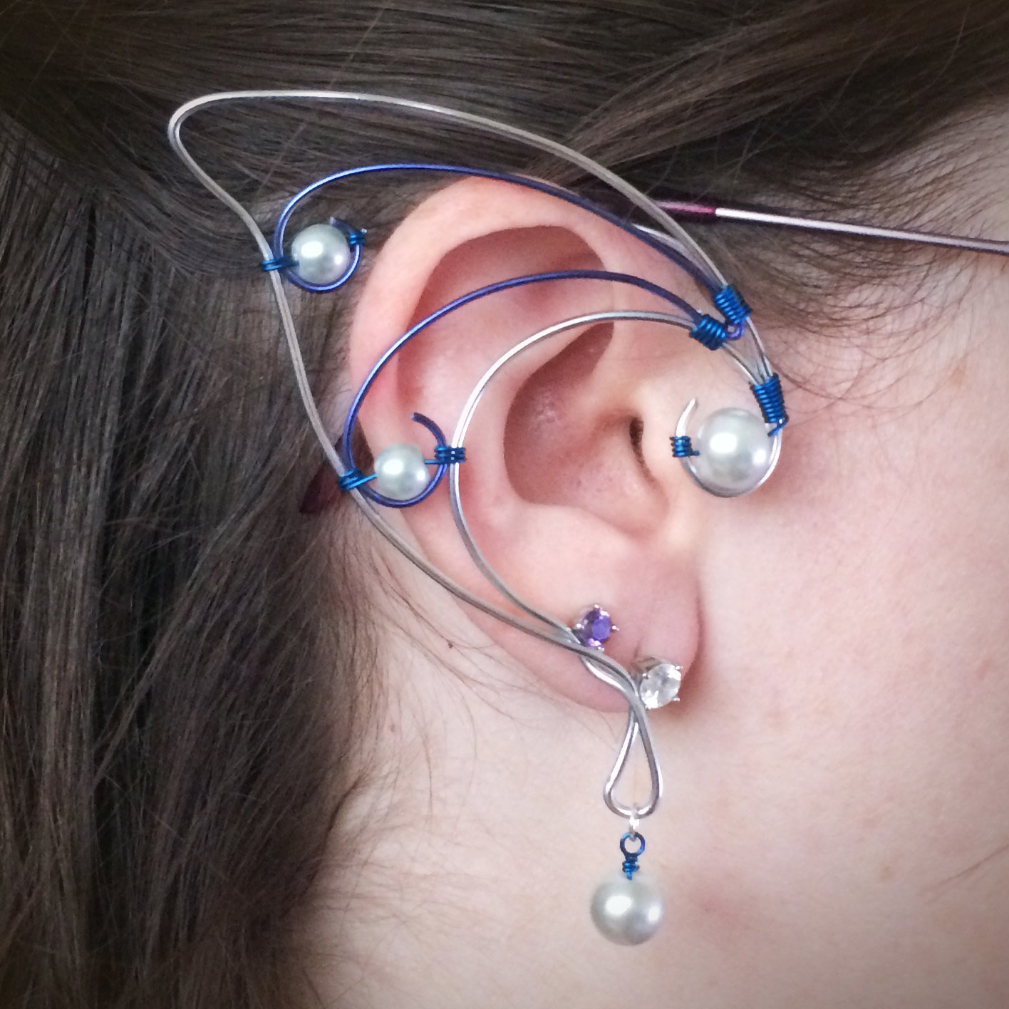 Elf Ear Cuff - Silver and Blue with beads
