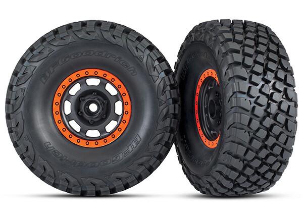 Tires & Wheels, Assembled, Glued (Desert Racer Wheels, Black with Orange Beadlock, BFGoodrich® Baja KR3 Tires) (2)