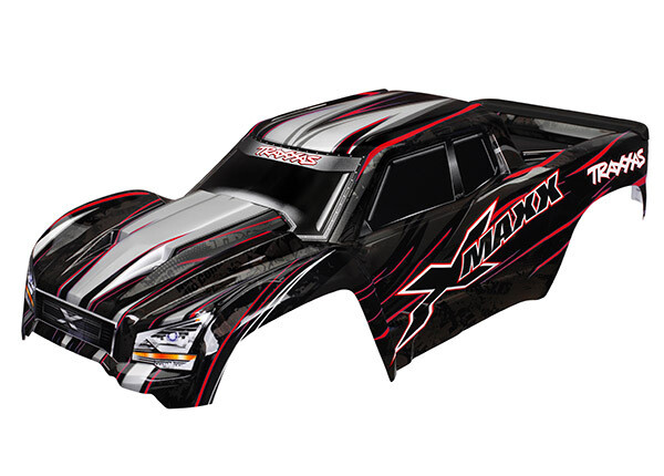 Body, X-Maxx®, Red (Painted, Decals Applied) (Assembled with Front & Rear Body Mounts, Rear Body Support, and Tailgate Protector)