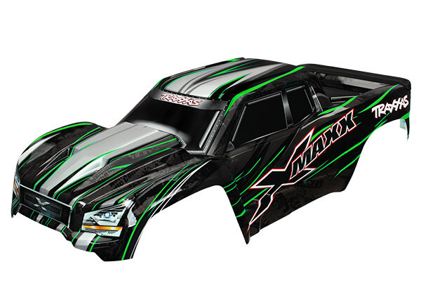 Body, X-Maxx®, Green (Painted, Decals Applied) (Assembled with Front & Rear Body Mounts, Rear Body Support, and Tailgate Protector)