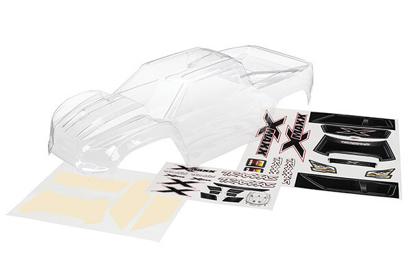 Body, X-Maxx® (Clear, Trimmed, Requires Painting)/Window Masks/Decal Sheet)