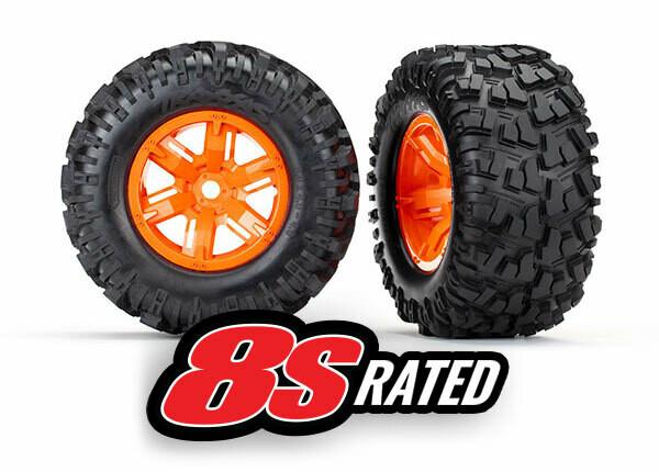 Tires & Wheels, Assembled, Glued (X-Maxx® Orange Wheels, Maxx® AT Tires, Foam Inserts) (Left & Right) (2)
