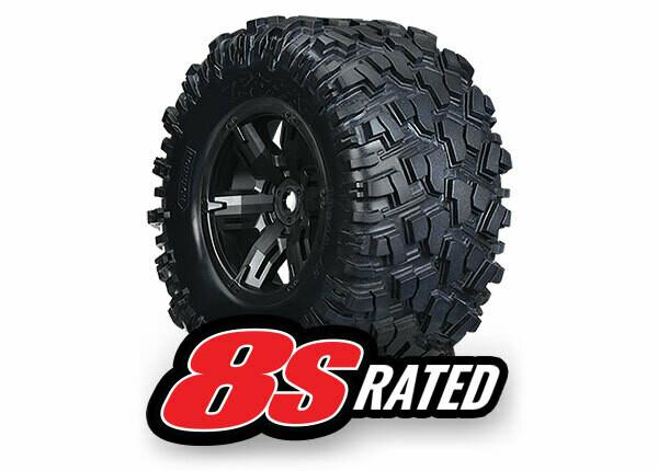 Tires & Wheels, Assembled, Glued (X-Maxx® Black Wheels, Maxx® AT Tires, Foam Inserts) (Left & Right) (2)