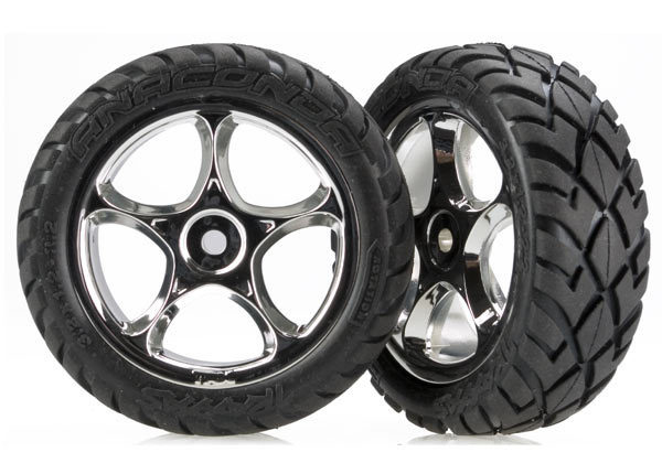 """Tires & wheels, assembled (Tracer 2.2"""" chrome wheels, Anaconda 2.2"""" tires with foam inserts) (2) (Bandit front)"""