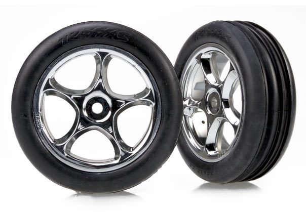 """Tires & wheels, assembled (Tracer 2.2"""" chrome wheels, Alias ribbed 2.2"""" tires) (2) (Bandit front, soft compound with foam inserts)"""