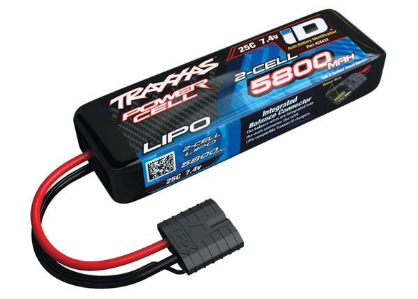 Traxxas 5800mAh 7.4V 2S 25C LiPo ID Battery - All Models (135x25x45mm)
