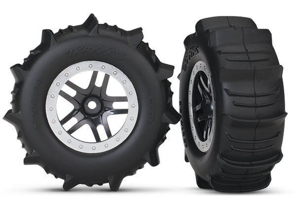 Traxxas Tires & wheels, (SCT satin chrome beadlock, paddle tires, with foam inserts) (2)