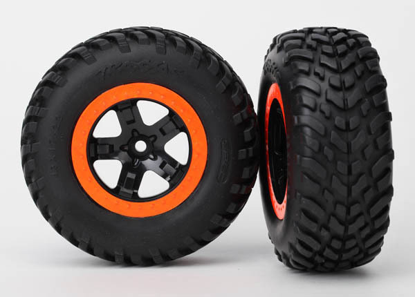 """Tires & Wheels, Assembled, Glued (SCT Black, Orange Beadlock Wheels, Dual Profile (2.2"""" Outer, 3.0"""" Inner), SCT Off-Road Racing Tire, Foam Inserts) (2) (4WD F/R, 2WD Rear) (TSM Rated)"""