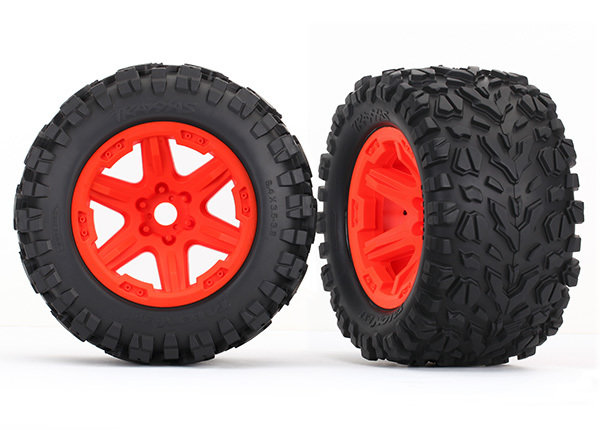 ERevo Tires & Wheels, Assembled (Orange, Talon EXT Tires) (2) (17mm)