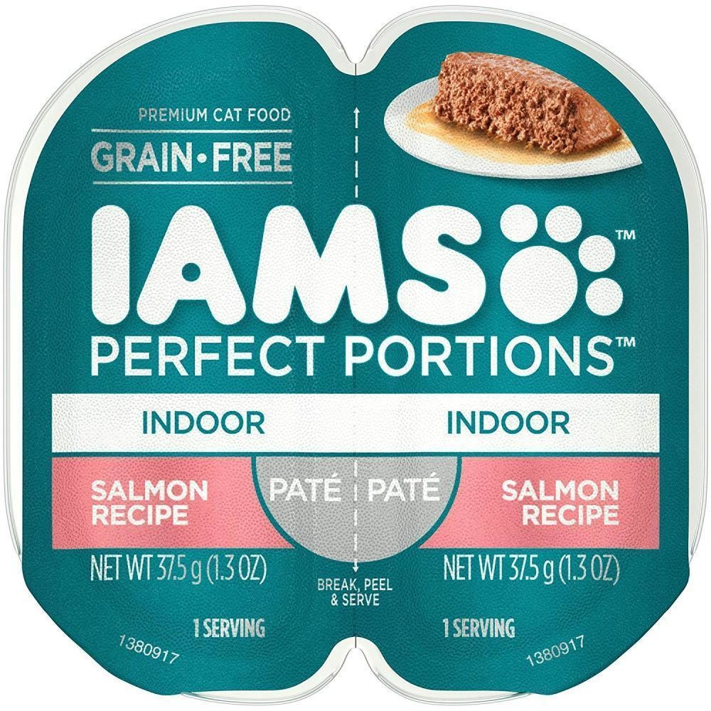 Iams Indoor Grain Free Wet Cat Food, Salmon Pate, 2.6 Oz. 24 count (5/19) (A.I1)