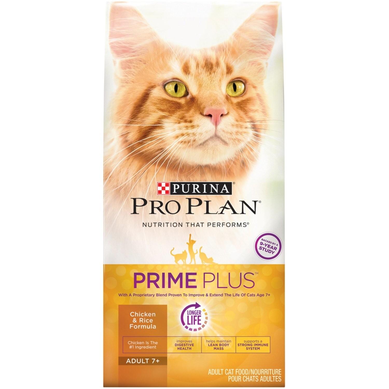 Purina Pro Plan Prime Plus Adult 7+ Chicken & Rice Formula Cat Food, 3.2 lb. (5/19) (A.J2)