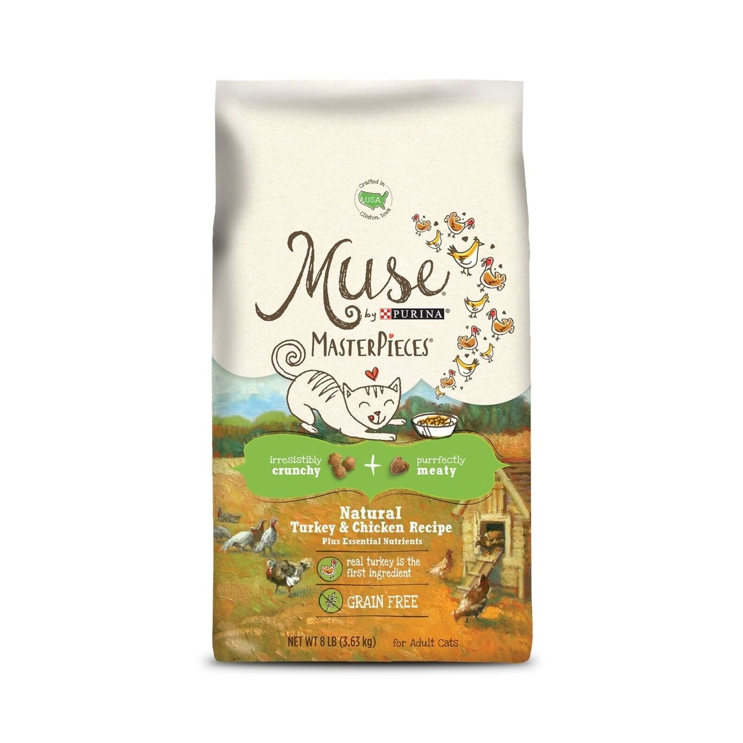 Muse Natural Grain Free Adult Dry Cat Food Dry Food With Meaty Masterpieces w/Turkey & Chicken 8 lbs. (9/20)