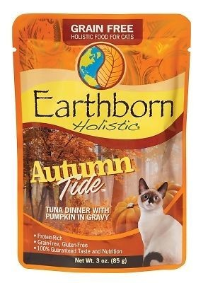 Earthborn holistic's autumn tied grain-free for cats tuna dinner with pumpkin and gravy 3-ounce pouches 12 count (4/20)