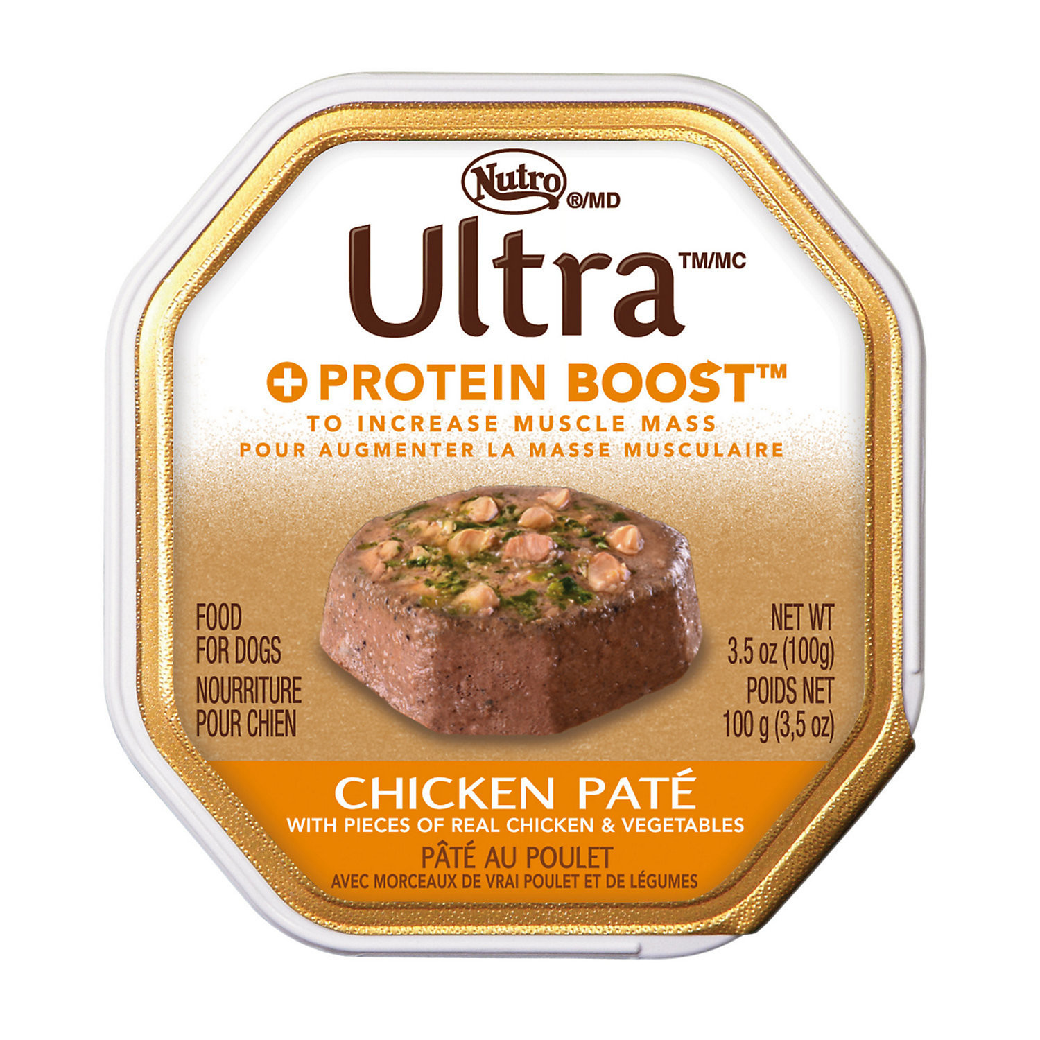 Nutro Ultra Protein Boost Chicken Pate Dog Food Trays (3.5 oz.; Case of 24) (5/19) (A.K5)