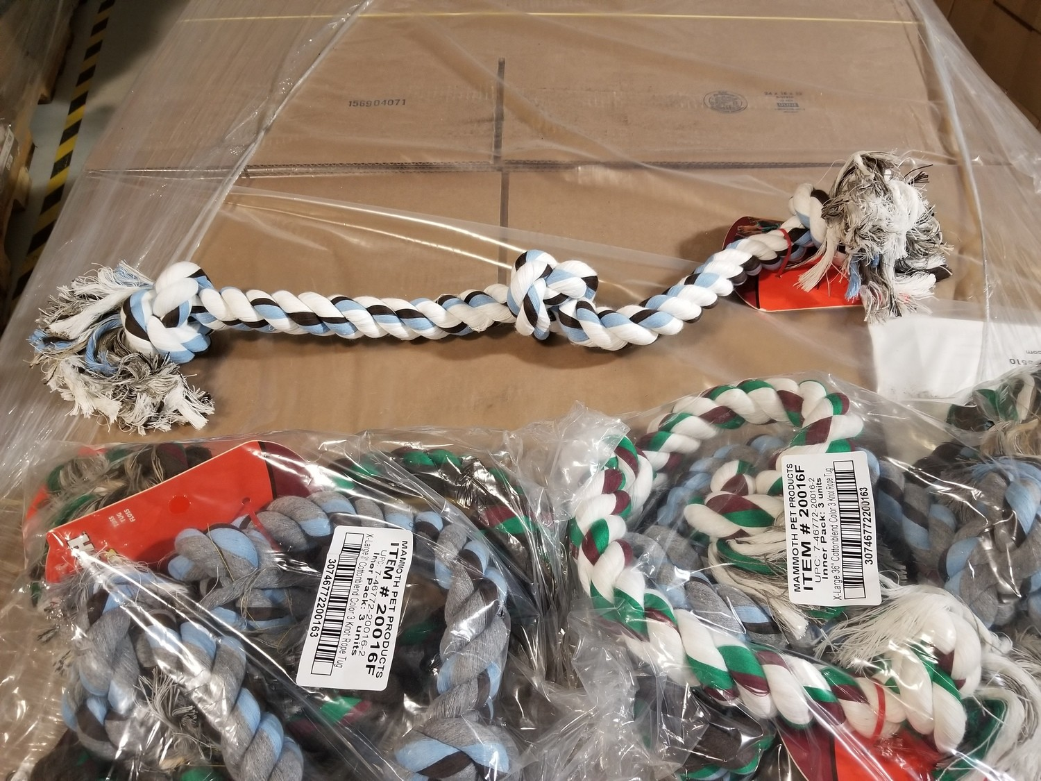 """HUGE!!!!!  THICK!!!!  Mammoth Flossy Chews Color Rope Bones 3 Knot EXTRA LARGE 36"""" **ACTUAL PHOTO** (/TOY)"""