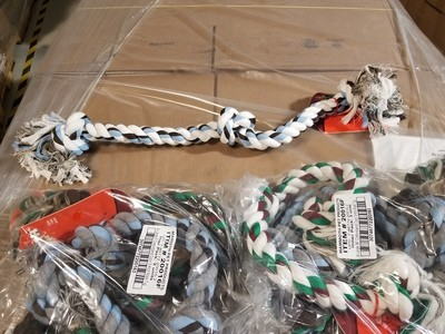 HUGE!!!!!  THICK!!!!  Mammoth Flossy Chews Color Rope Bones 3 Knot EXTRA LARGE 36