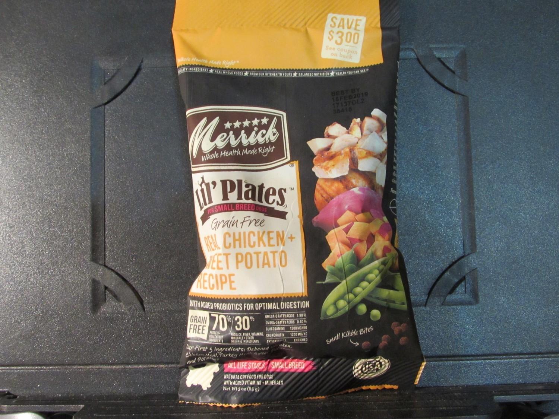 Merrick Lil Plates Small Breed Dog GF Real Chicken & Sweet Potato 3 oz (2/19) (A.P7)