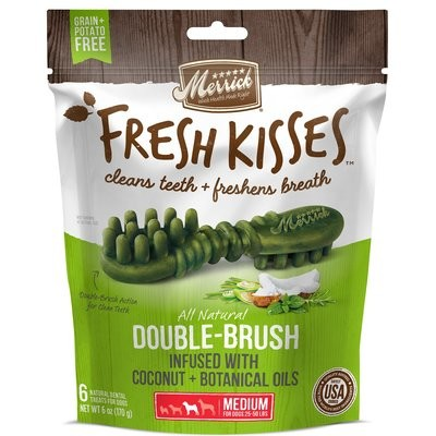 **BOGO** MERRICK Fresh Kisses Coconut Oil  Botanicals Medium Brush Dental Dog Treats, 6 Count (1/19) (T.D4)