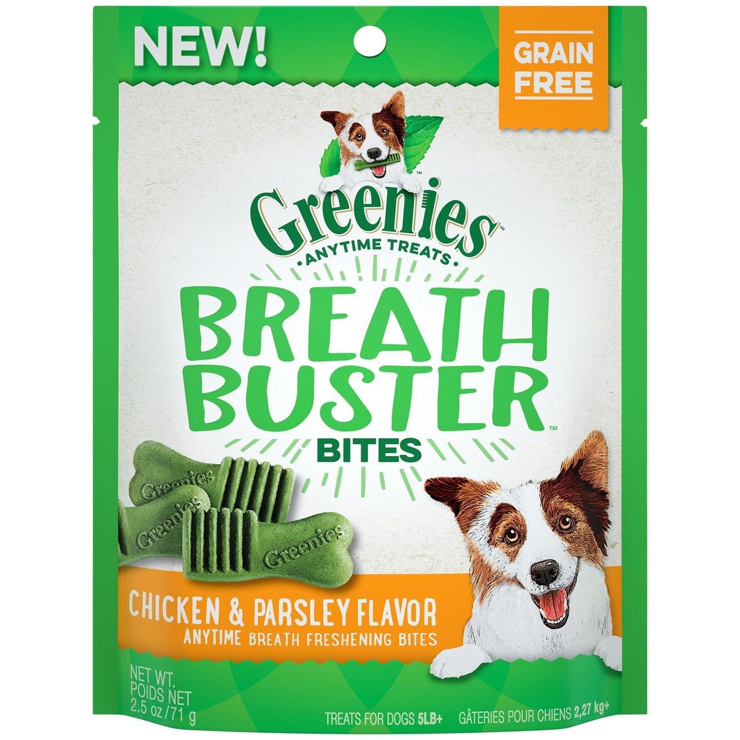 GREENIES BREATH BUSTER Bites Chicken & Parsley Flavor Treats for Dogs, 2.5 oz. (10/18) (T.SINGLES)