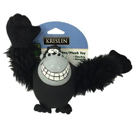 Krislin Pet Dog Toy Plush Gorilla Monkey Durable - Natural Latex Fabric Black (B.C9/TOY)