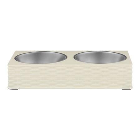 Loving Pets Wicker Double Diner Bowl, Ivory, Large (B.D4/PR/BOWL)