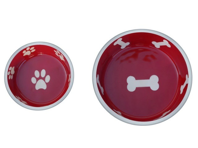 Robusto Bowls Rubber Base Skid Free Low Noise Spill Preventing Dishwasher Safe - Extra Small Cat or Dog Bowls Red (B.D12/PR/AM5/BOWL)