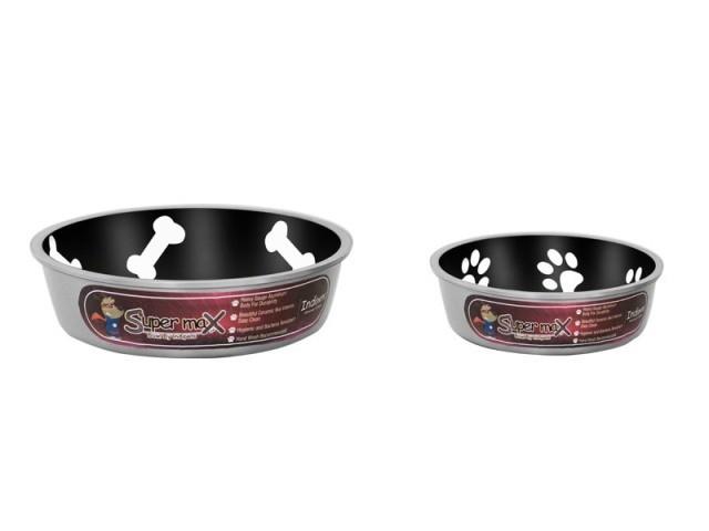Robusto Bowls Rubber Base Skid Free Low Noise Spill Preventing Dishwasher Safe - Large Cat or Dog Bowls Midnight (B.D12/PR/BOWL)