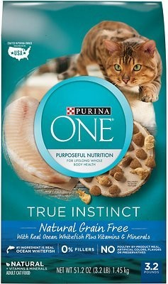 PURINA ONE TRUE INSTINCT GF W/REAL OCEAN WHITEFISH 14.4  LBS. (5/19) (A.L1)