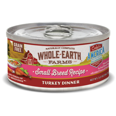 **BOGO** Merrick Whole Earth Farms Grain Free Small Breed Turkey Dinner Canned Dog Food, 3.2 Oz. 24 count (1/19)