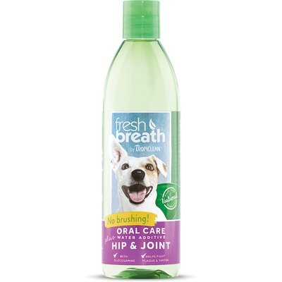 Tropiclean Fresh Breath Water Additive Plus Hip & Joint Pet Supplement 16 oz. {O.A1/R4/S4)