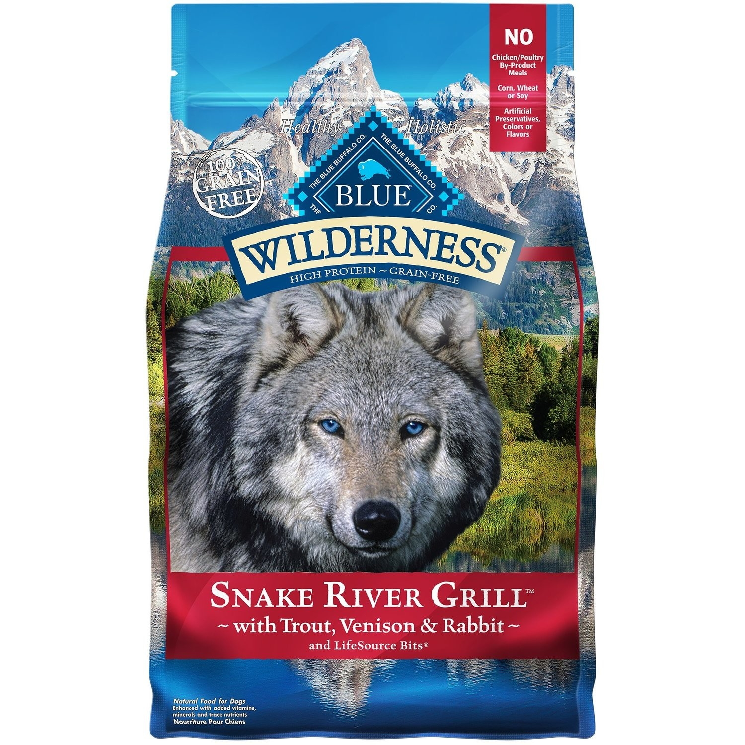BLUE WILDERNESS SNAKE RIVER GRILL W/TROUT, VENISON & RABBIT 4 LBS