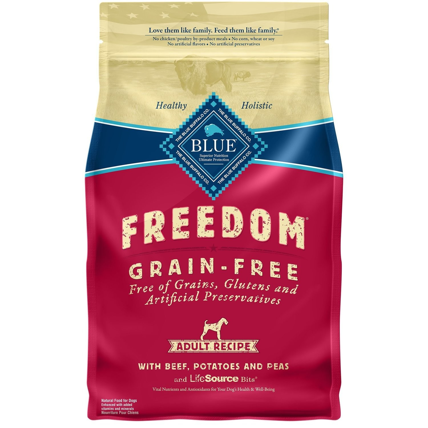 Blue Buffalo Freedom Grain Free Beef Recipe Adult Dog Food, 4 lbs