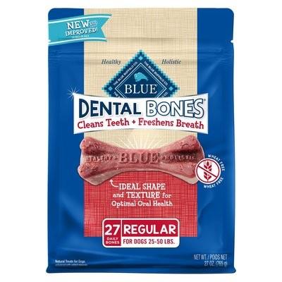 **BOGO** Blue Buffalo Regular Blue Bones Natural Dog Dental Chews, 27 oz. (3/20) (A.J4)
