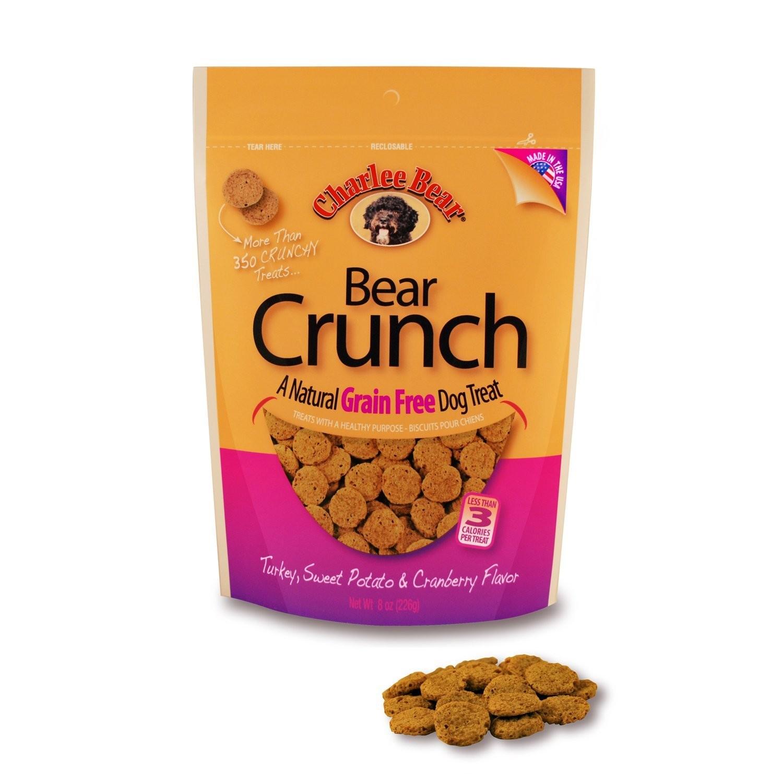 Charlee Bear Grain Free Turkey, Sweet Potato & Cranberry Bear Crunch Dog Treats 8 oz (5/19) (T.D10)