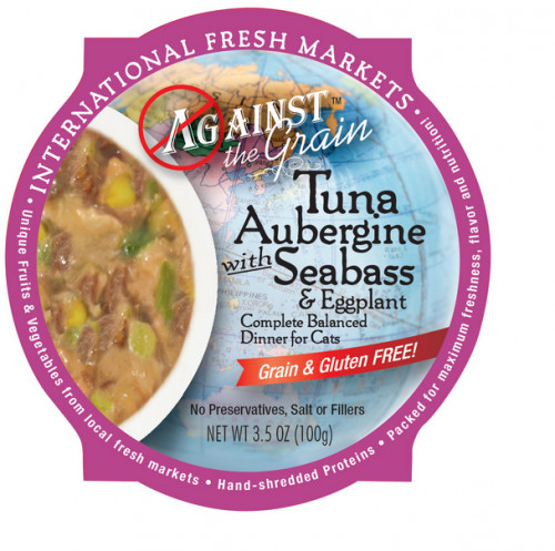 Against The Grain Tuna Aubergine Cat Food 3.5 Oz. 12 count