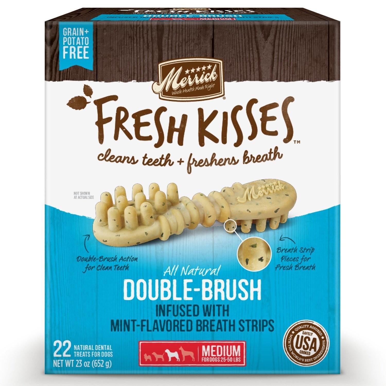 **BOGO** Merrick Fresh Kisses Mint Breath Strips Medium Brush Dental Dog Treats, 22 Count  #66054 (2/19) (A.K4)
