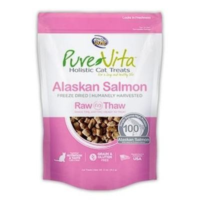 **BOGO** Pure Vita Grain Free Freeze Dried Alaskan Salmon Delights Holistic Cat Treats 1.1 oz (4/19) (L.A4)