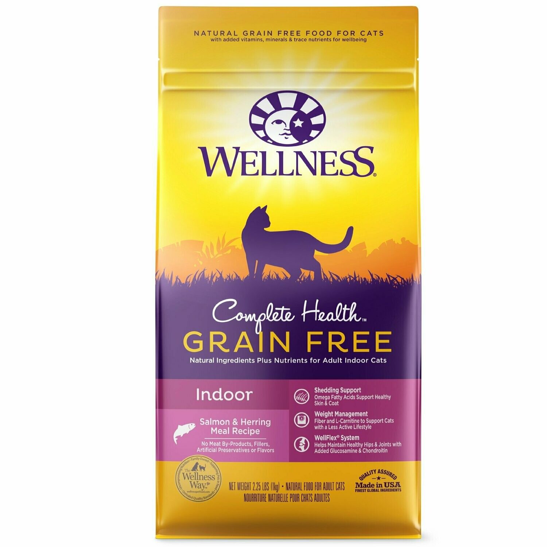 Wellness Complete Health Natural Grain Free Indoor, Salmon & Herring Dry Cat Food 2.25 lbs (8/20)