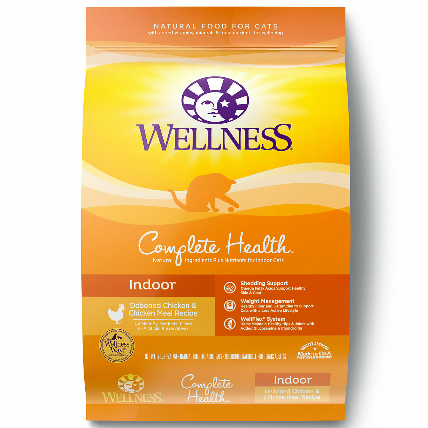 Wellness Complete Health Natural Indoor Health Chicken Recipe Dry Cat Food 12-lb (9/19) (A.L5)