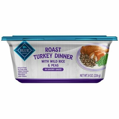 Blue Buffalo Roast Turkey Dinner with Wild Rice and Peas 8 oz. tub, Case of 8 (05/19) (A.E1)