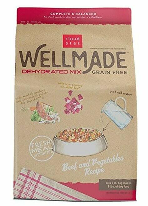 Cloud Star Wellmade Grain Free Dehydrated Beef & Vegetable Dry Dog Food 3 lbs (02/19) (A.R5/DD)