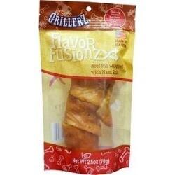 **BOGO** Grillerz Flavor Fusionz Beef Rib with Ham Skin Dog Treat 2.5 oz bag (02/19) (A.H1/Q5)
