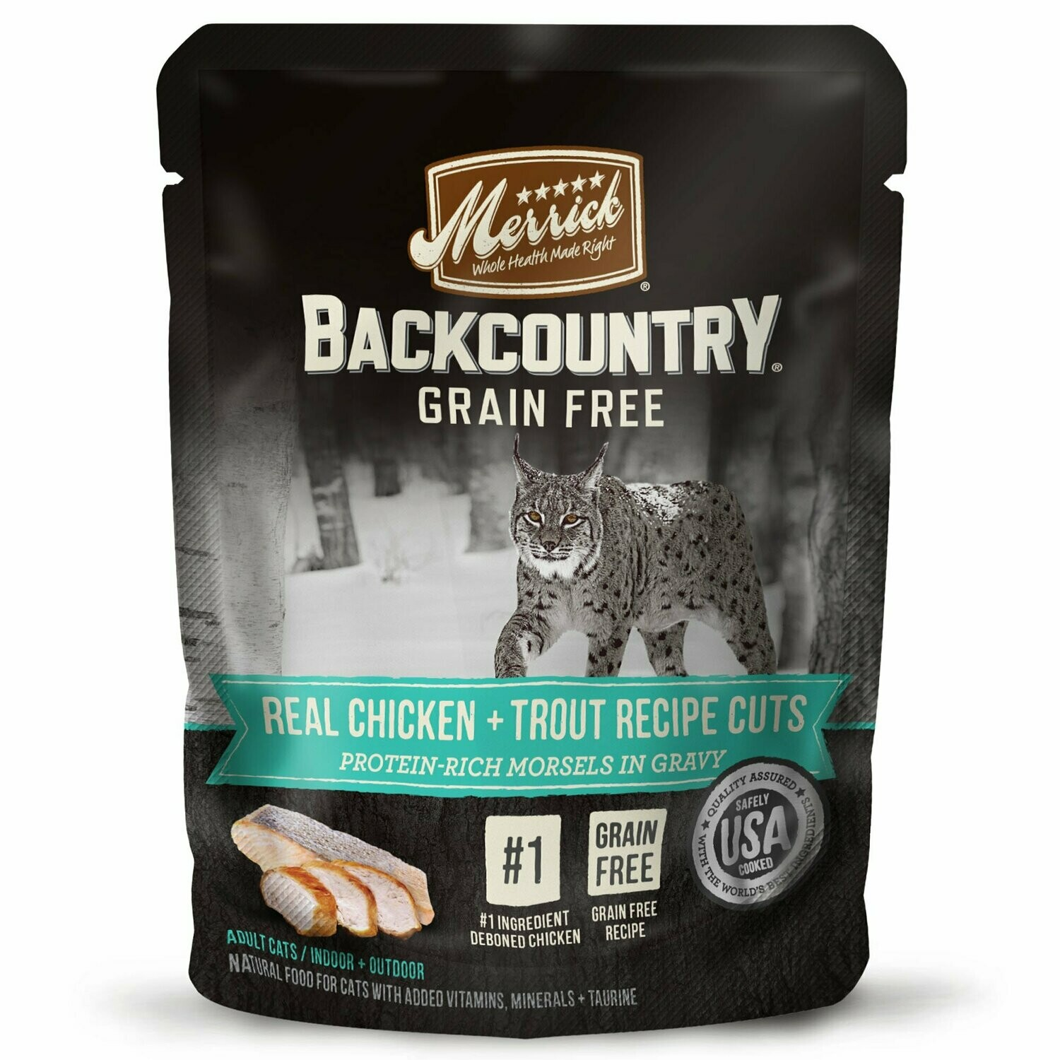 **BOGO** Merrick Backcountry Grain-Free Real Chicken & Trout Recipe Cuts Wet Cat Food 3 oz 24 count (3/19)