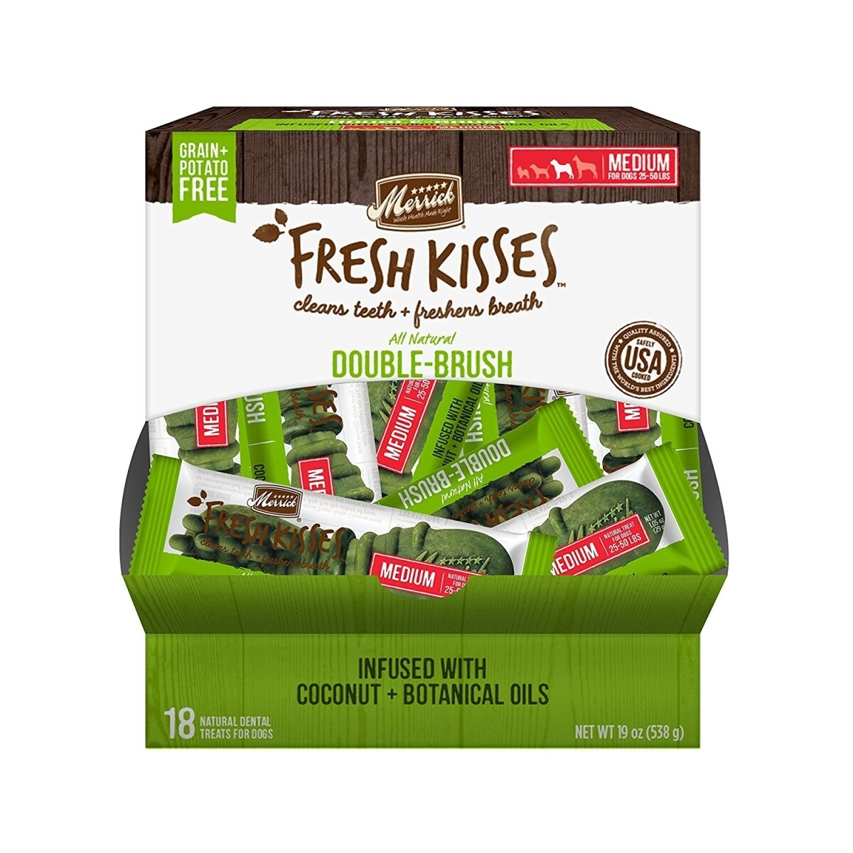 **BOGO** Merrick Fresh Kisses Coconut Oil Extra Small Brush  Dental Dog Treat - 18 Count #66018 (01/19) (A.K5)