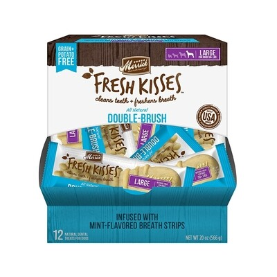 **BOGO** Merrick Fresh Kisses Mint Breath Strips Large Brush Dental Dog Treat - 12 Count (4/19) (A.K5)