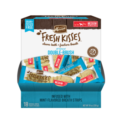 **BOGO** Merrick Fresh Kisses Mint Strips Medium Dental Dog Treats 18 count #66038 (03/19) (A.K4)
